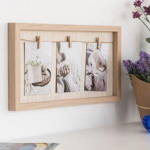 Drevený fotorámček so štipcami (3 fotogafie)