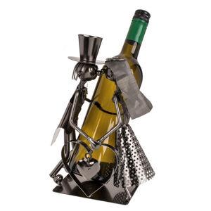 Kovový stojan na víno novomanželia