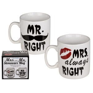 Veľké hrnčeky Mr. Right a Mrs. always Right